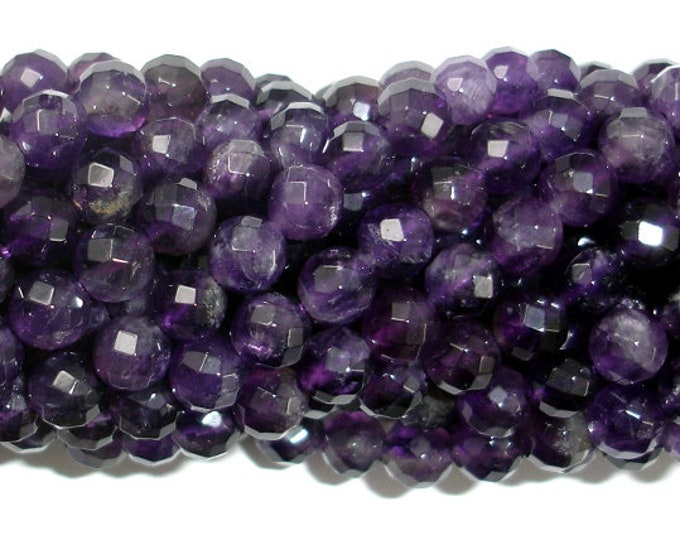 Amethyst, 6mm Faceted Round,15.5 Inch, Full strand, Approx 64 beads, Hole 1mm (115025009)