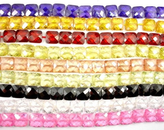 Cubic Zirconia Beads,  CZ beads, 9 x 9mm Faceted Square Beads, 6 Inch, 1 strand, 17 beads, Hole 0.8 mm, A quality (SQ0909)