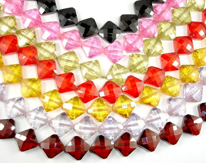 Cubic Zirconia Beads,  CZ bead, 9 x 9mm Faceted Diamond Beads, 6 Inch, 1 strand, 14 beads, Hole 0.8 mm, A quality (DI0909)