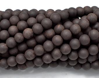 Matte Black Sandalwood Beads, 6mm (6.3mm) Round, 25 Inch, Full strand, Approx 108 Beads, Mala Beads (011732004)