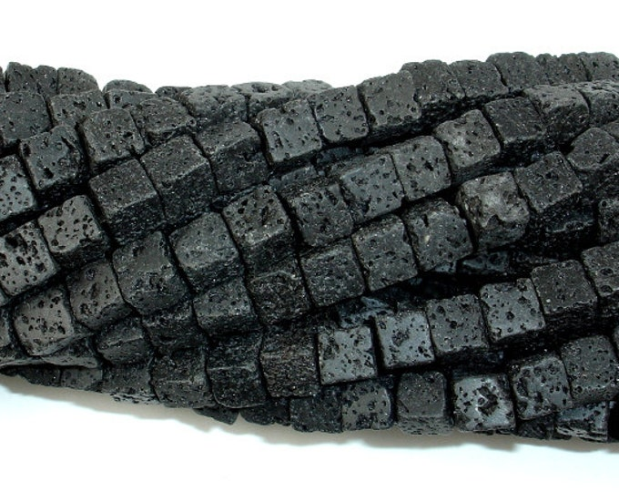 Black Lava, 6x6mm Cube Beads, 15.5 Inch, Full strand, Approx 61 beads, Hole 1 mm (300009003)