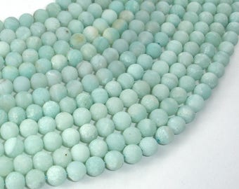 Matte Amazonite Beads, 6mm (6.4mm) Round Beads, 15 Inch, Full strand, Approx 58-62 beads, Full strand, Hole 0.8mm (111054035)
