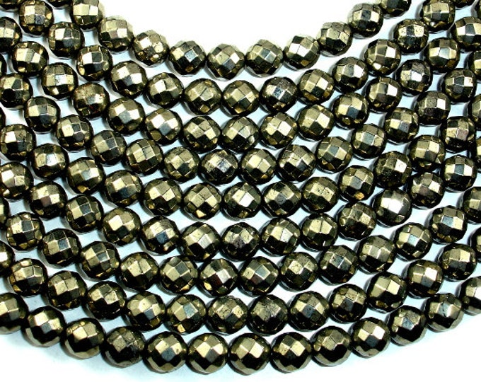 Pyrite Beads, Faceted Round, 8mm, 15.5 Inch, Full strand, Approx 49 beads, Hole 1 mm (361025003)