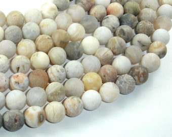 Matte Bamboo Leaf Agate, 10mm (10.3mm) Round Beads, 15.5 Inch, Full strand, Approx 38 beads, Hole 1mm (131054006)
