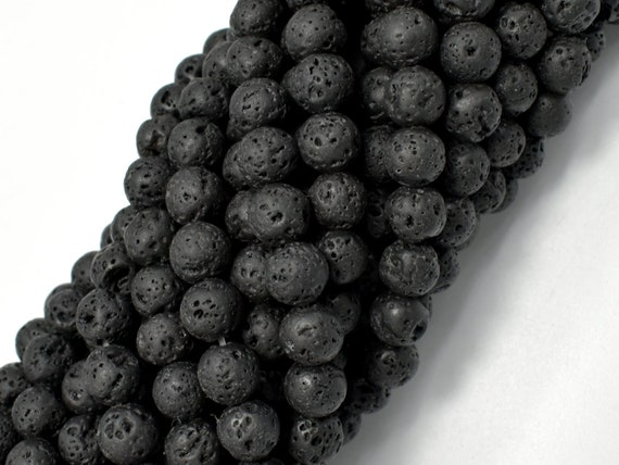 6.6mm 6mm 15 Inch 300054019 Full strand, Round Black Lava Beads