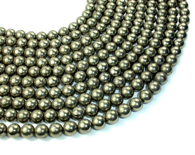 Pyrite Beads, 8mm Round Beads, 15.5 Inch, Full strand, Approx 49 beads, Hole 1 mm (361054002)