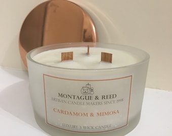 3 Wick Luxury Soy Wax Candle, Wooden crackle wicks