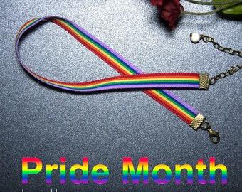 Pride Ribbon LGBT Choker - Rainbow Choker - Adjustable Choker - Informal - LGBTQ