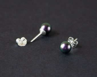 Iridescent Purple SWAROVSKI Crystal Pearl Ear Studs on Sterling Silver - pearl jewelry, 20g earrings, real silver, prom gift, brides maid