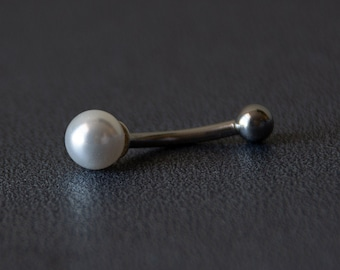 Dainty White Swarovski® Crystal Pearl Belly Ring  - Dainty Belly Button Ring - Unique Gift - VCH Piercing - Swarovski® Pearl
