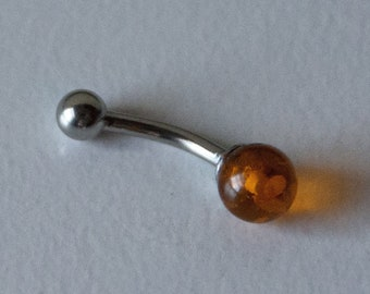 Dainty Baltic AMBER (assembled) Belly Ring  - Belly Button Ring - Unique Gift - November Birthstone - 14 gauge Navel Ring Sacral Chakra