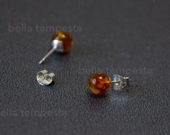 AMBER Ear Studs on Sterling Silver - Gemstone Jewelry, 20g earrings, real silver, prom gift, brides maid