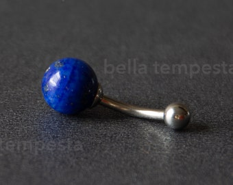 LAPIS LAZULI Belly Ring  - Custom Belly Button Ring - Unique Body Jewelry - Blue Stone - Gemstone Navel Ring