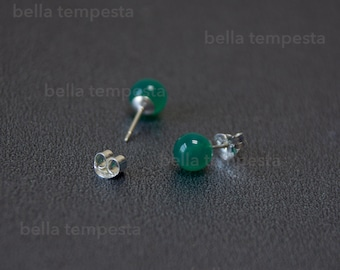 GREEN ONYX Ear Studs on Sterling Silver - Gemstone Jewelry, 20g earrings, real silver, prom gift, brides maid
