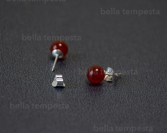 CARNELIAN Ear Studs on Sterling Silver - Gemstone Jewelry, 20g earrings, real silver, prom gift, brides maid