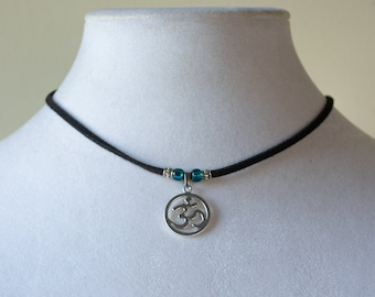 Om or Aum Choker or necklace - Om Adjustable Necklace - HIGH QUALITY Choker with Glass Beads, Unique Gift, Hindu, Buddha