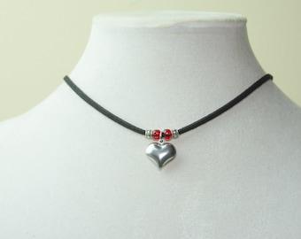 Cute Puffed Heart Adjustable Necklace or Choker- Heart Pendant Choker with Toho Beads, Artisan Jewelry