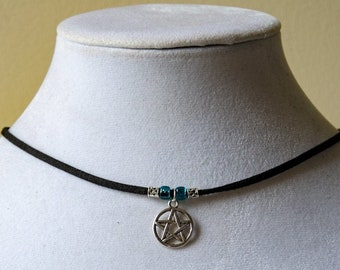 Pentacle Choker or Necklace - Pentagram Adjustable Necklace - HIGH QUALITY Choker with Glass Beads, Unique Gift, Wicca, Pagan