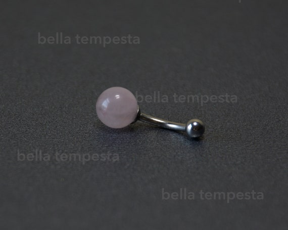 Non Dangle Belly Ring Navel Rings Rose Quartz Belly Ring 8mm or 10mm Stone Body Piercings Simple Belly Ring Gemstone Belly Ring