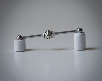 Industrial Barbell with Bali Bead - Industrial Piercing Jewelry - Industrial bar earring - Unique Body Jewelry - 14g