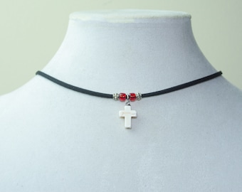 Cute Cross Adjustable Necklace or Choker- Stone Cross Pendant Choker with Toho Beads, Artisan Jewelry