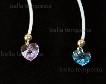 PTFE Flexible SWAROVSKI Crystal Heart Barbell for Pregnancy or Long Retainer, industrial barbell, Hypoallergenic Flexible, maternity