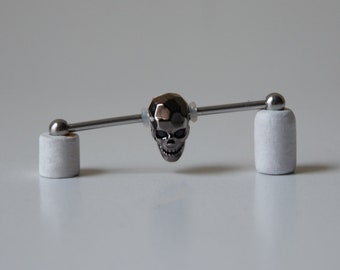 Industrial Barbell with Black Carved Skull with faceted CZ eyes - HIGH QUALITY - Industrial bar earring - Unique Body Jewelry - 14g
