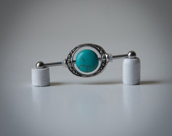Industrial Barbell - Industrial Piercing Jewelry - Industrial bar earring - Steam Punk - Turquoise Earring - Unique Body Jewelry - 14g