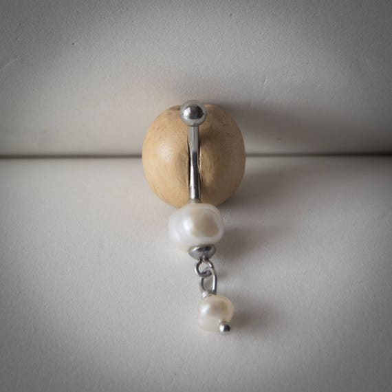 Pearl Belly Ring Genuine Freshwater Pearl Navel Ring Belly Button Ring Beach Jewelry June Birthstone Pearl Jewelry