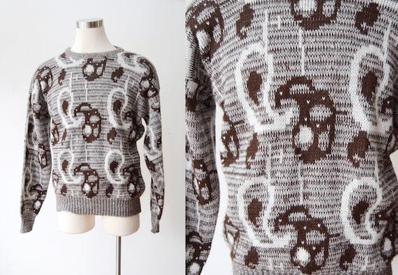 1980s Paisley Acrylic Sweater - L