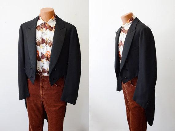 1920s Black Tuxedo Jacket with Tails - M