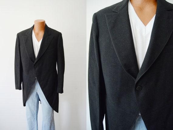 1920s Black Wool Tailcoat Jacket