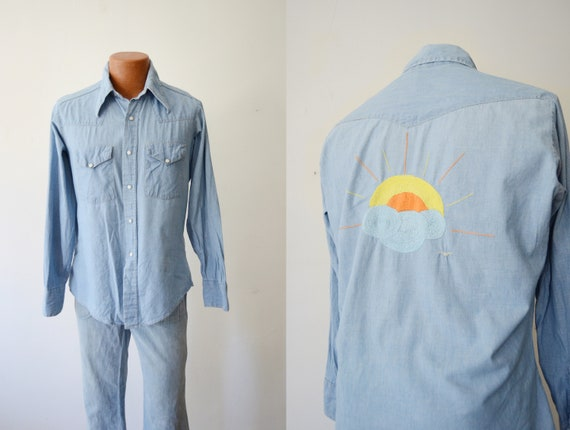 1970s Embroidered Chambray Shirt
