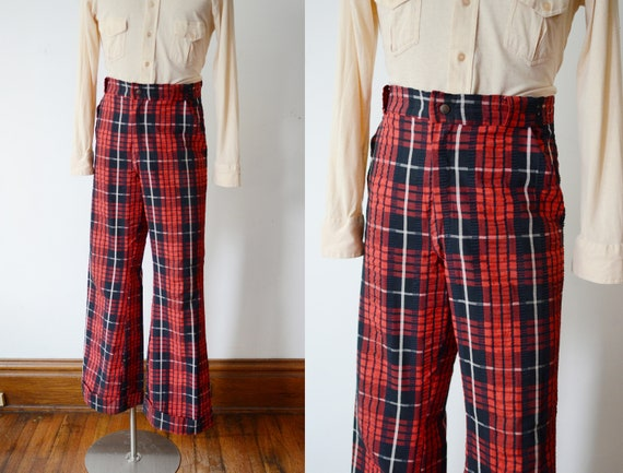 1970s Red Plaid Seersucker Flare Pants