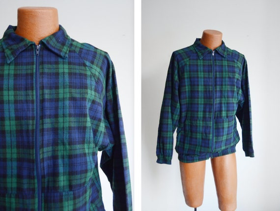 Cotton Flannel 1980s Green and Blue Plaid Jacket -