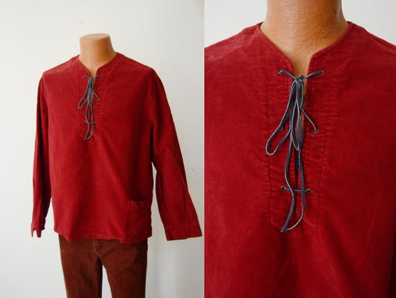 1970s Red Cotton Shirt - M/L