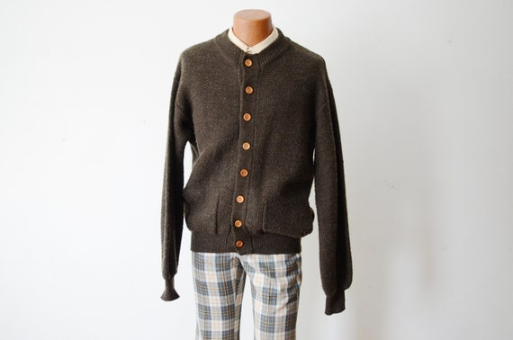 1970s Brown Cardigan with Wood Buttons