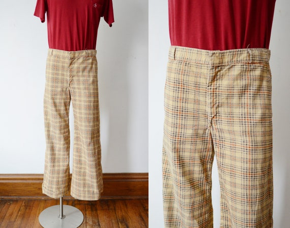 1970s Corduroy Plaid Flare Pants