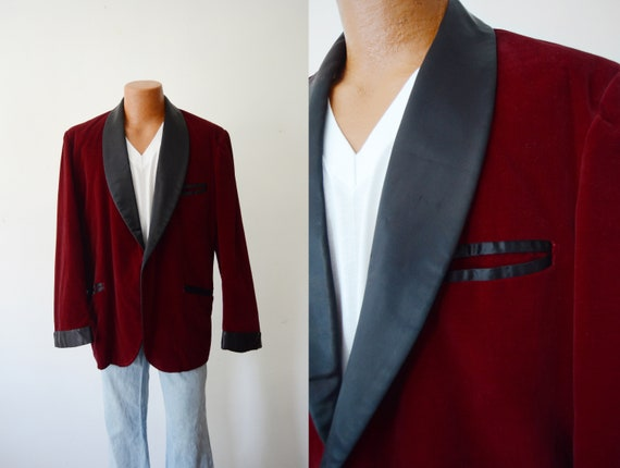 1970s Velvet Smoking Jacket/Blazer - L