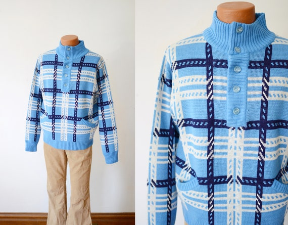 1970s Blue Plaid Sweater - L