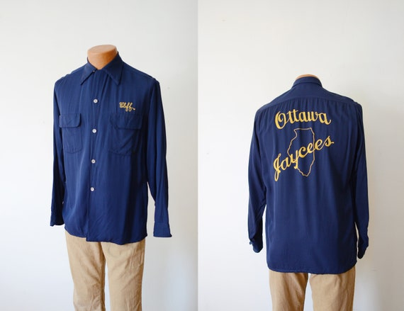 1940s Navy Rayon Shirt with Chain Stitching - M