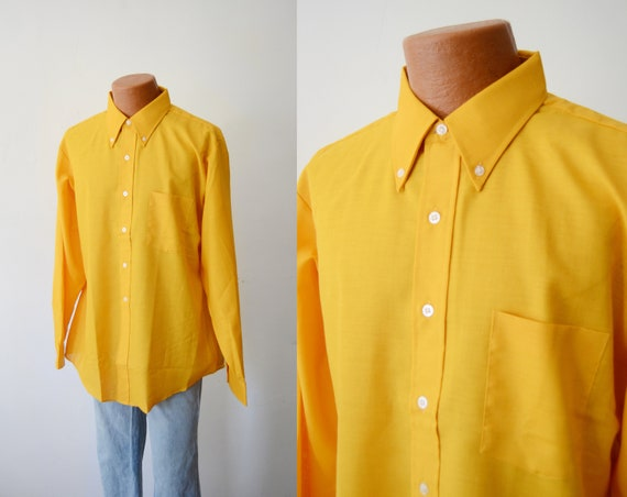 1970s Bright Yellow Button Up Shirt - L/XL