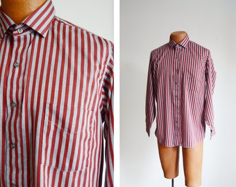 "1980s Red and Grey Striped Button Up - 43"" Chest 15/15.5"