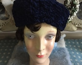 Vintage 1950s faux Astrakhan pillbox hat in a deep midnight blue. The fabric is also known as 39 Persian Lamb 39 . Excellent condition Size S M