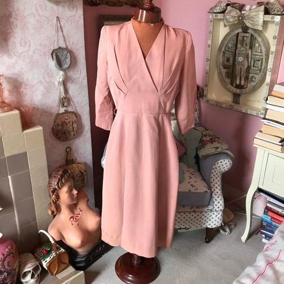 "1940s dusky pink elegant rayon dress. W27"""