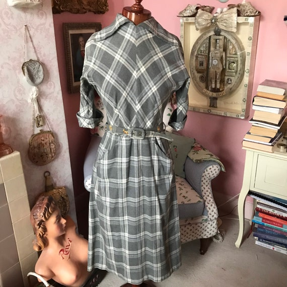 1950s grey wool plaid dress with fantastic scotty