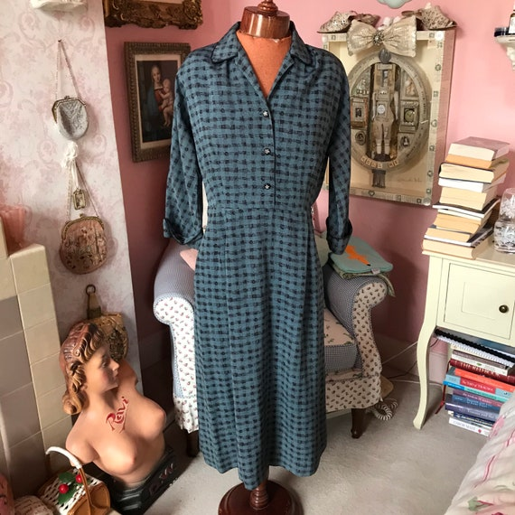 1950s houndstooth blue and black check dress. W31""