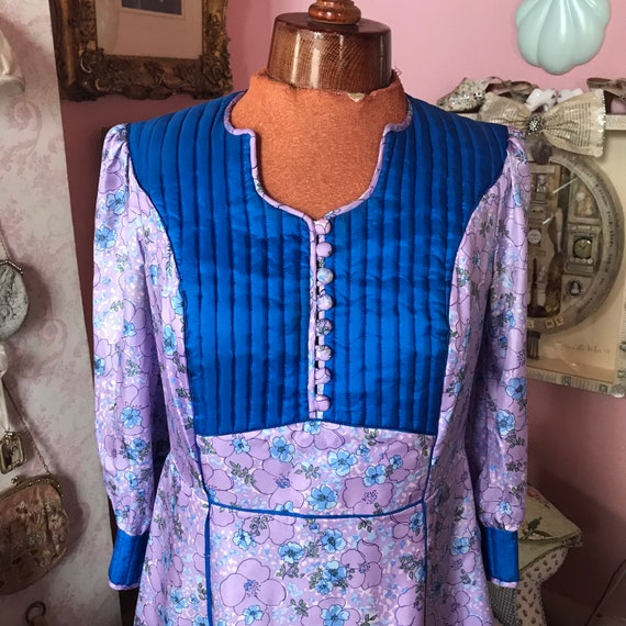 1970s silk quilted dress from AnnaBelinda pattern… - image 3