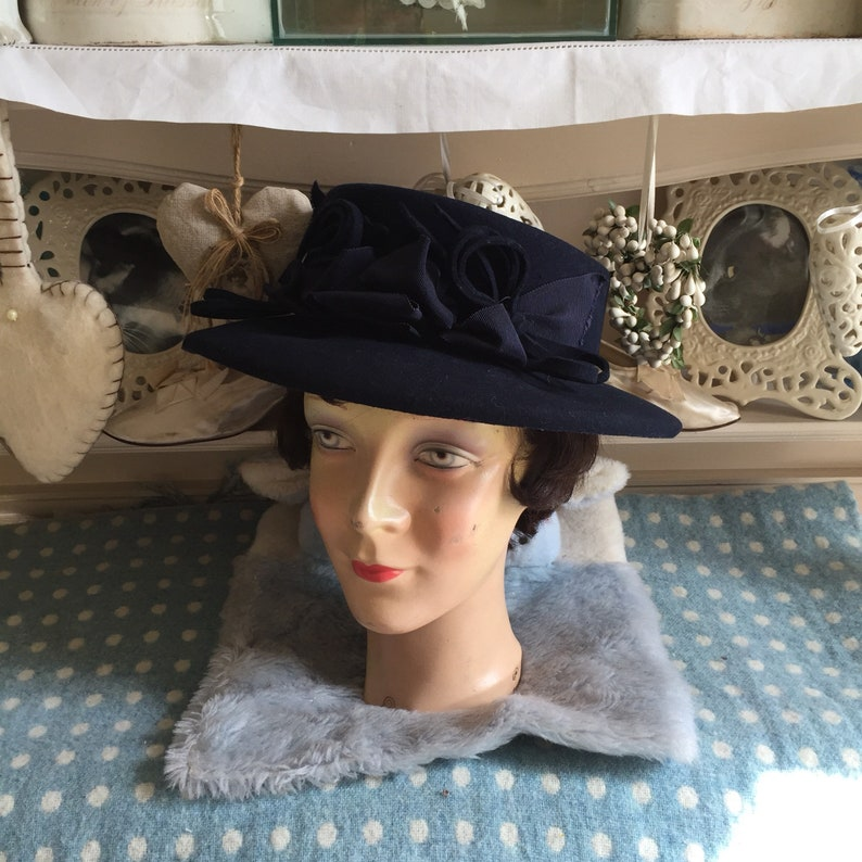 65184c660 1940s navy blue wool felt fedora trilby hat with decorative grosgrain  ribbons and bows