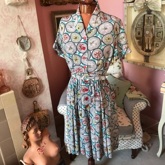 "1940s crepe dress. W 28"". VGC"